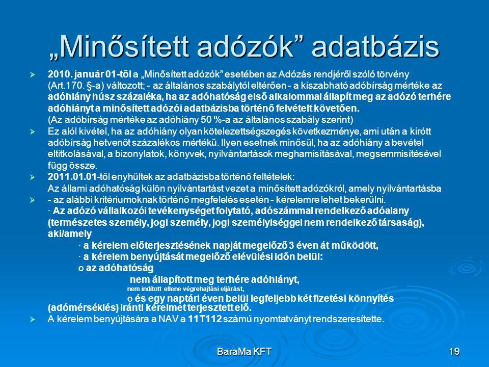 """BaraMa KFT19 """"Minősített adózók adatbázis   2010."""