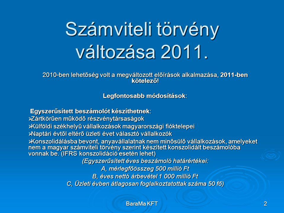 BaraMa KFT 2 Számviteli törvény változása 2011. 2010-ben lehetőség volt a megváltozott előírások alkalmazása, 2011-ben kötelező! Legfontosabb módosítá