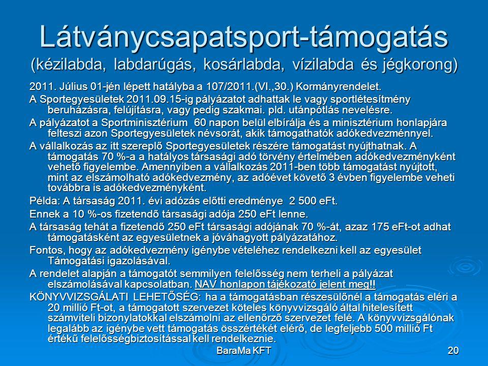 BaraMa KFT20 Látványcsapatsport-támogatás (kézilabda, labdarúgás, kosárlabda, vízilabda és jégkorong) 2011. Július 01-jén lépett hatályba a 107/2011.(