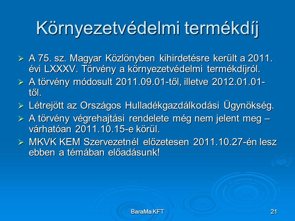 BaraMa KFT21 Környezetvédelmi termékdíj  A 75. sz. Magyar Közlönyben kihirdetésre került a 2011. évi LXXXV. Törvény a környezetvédelmi termékdíjról.