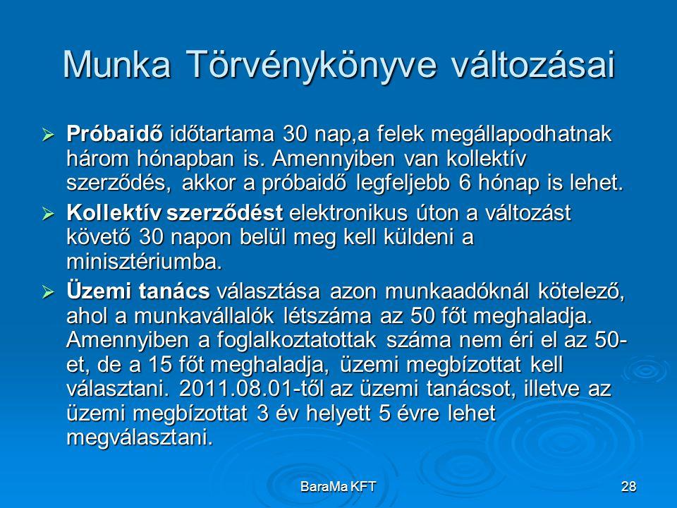 BaraMa KFT28 Munka Törvénykönyve változásai  Próbaidő időtartama 30 nap,a felek megállapodhatnak három hónapban is. Amennyiben van kollektív szerződé