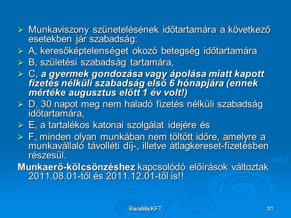 BaraMa KFT31  Munkaviszony szünetelésének időtartamára a következő esetekben jár szabadság:  A, keresőképtelenséget okozó betegség időtartamára  B,