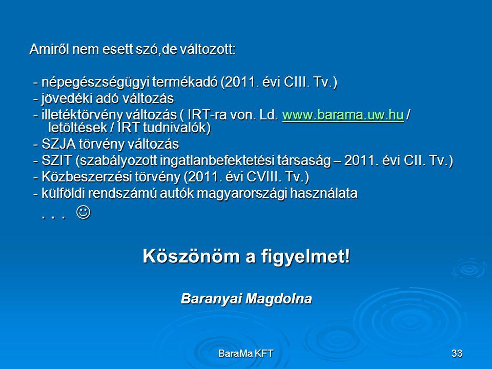 BaraMa KFT33 Amiről nem esett szó,de változott: - népegészségügyi termékadó (2011. évi CIII. Tv.) - népegészségügyi termékadó (2011. évi CIII. Tv.) -