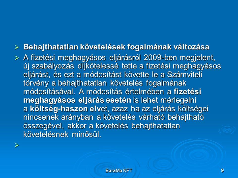 BaraMa KFT9  Behajthatatlan követelések fogalmának változása  A fizetési meghagyásos eljárásról 2009-ben megjelent, új szabályozás díjkötelessé tette a fizetési meghagyásos eljárást, és ezt a módosítást követte le a Számviteli törvény a behajthatatlan követelés fogalmának módosításával.