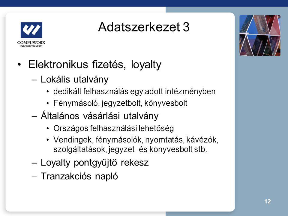 12 Adatszerkezet 3 •Elektronikus fizetés, loyalty –Lokális utalvány •dedikált felhasználás egy adott intézményben •Fénymásoló, jegyzetbolt, könyvesbol