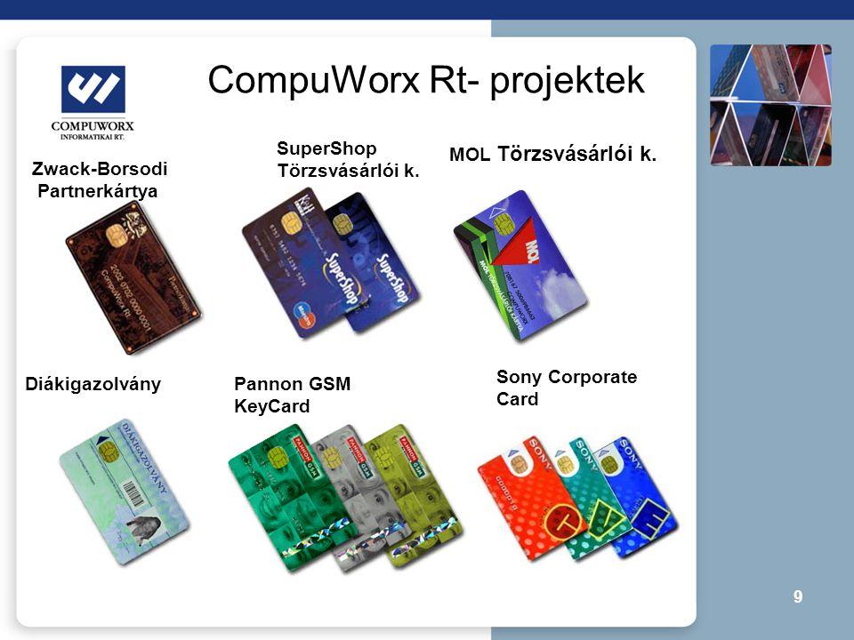 9 CompuWorx Rt- projektek MOL Törzsvásárlói k. SuperShop Törzsvásárlói k. Zwack-Borsodi Partnerkártya DiákigazolványPannon GSM KeyCard Sony Corporate