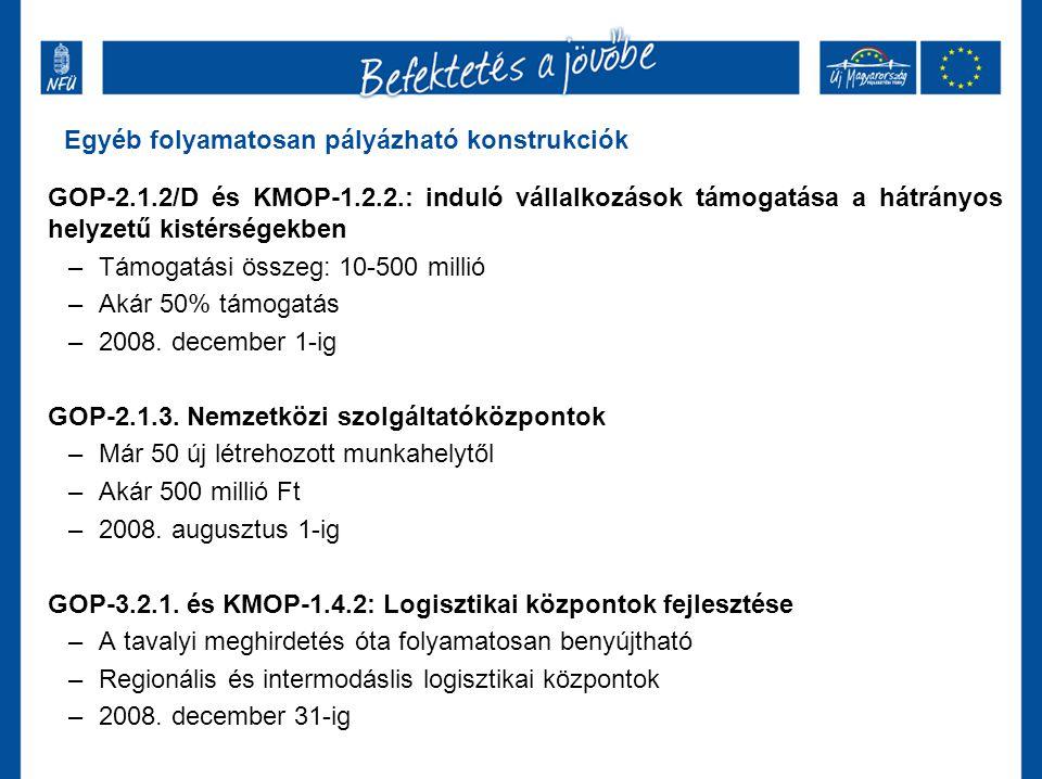 GOP-2.1.2/D és KMOP-1.2.2.: induló vállalkozások támogatása a hátrányos helyzetű kistérségekben –Támogatási összeg: 10-500 millió –Akár 50% támogatás –2008.