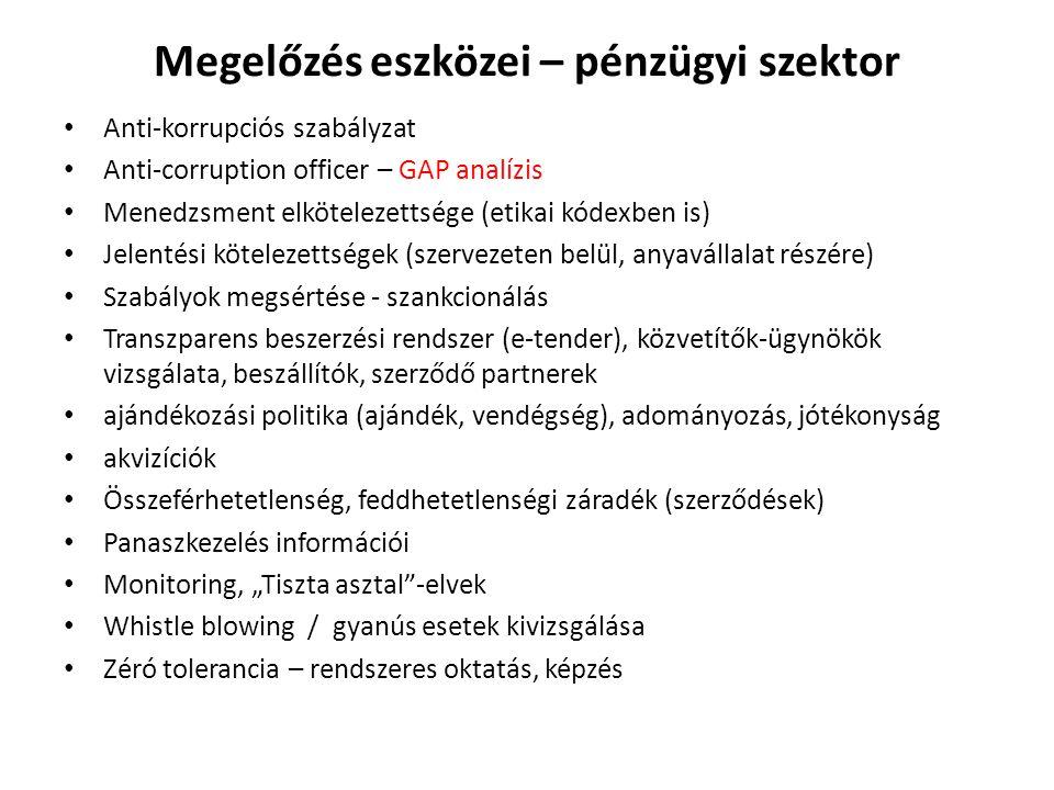 """Megelőzés eszközei – pénzügyi szektor • Anti-korrupciós szabályzat • Anti-corruption officer – GAP analízis • Menedzsment elkötelezettsége (etikai kódexben is) • Jelentési kötelezettségek (szervezeten belül, anyavállalat részére) • Szabályok megsértése - szankcionálás • Transzparens beszerzési rendszer (e-tender), közvetítők-ügynökök vizsgálata, beszállítók, szerződő partnerek • ajándékozási politika (ajándék, vendégség), adományozás, jótékonyság • akvizíciók • Összeférhetetlenség, feddhetetlenségi záradék (szerződések) • Panaszkezelés információi • Monitoring, """"Tiszta asztal -elvek • Whistle blowing / gyanús esetek kivizsgálása • Zéró tolerancia – rendszeres oktatás, képzés"""