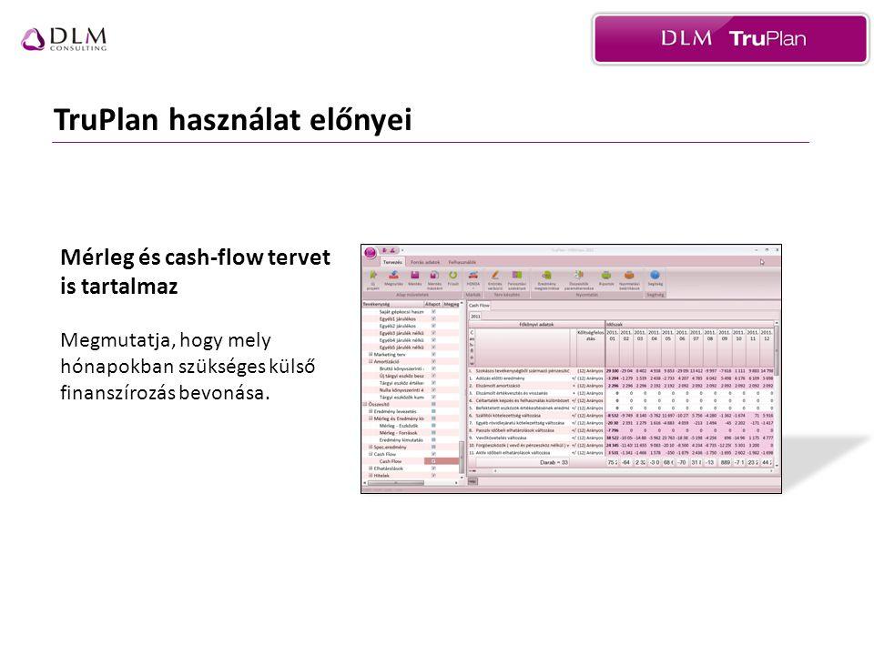 TruPlan használat előnyei Mérleg és cash-flow tervet is tartalmaz Megmutatja, hogy mely hónapokban szükséges külső finanszírozás bevonása.