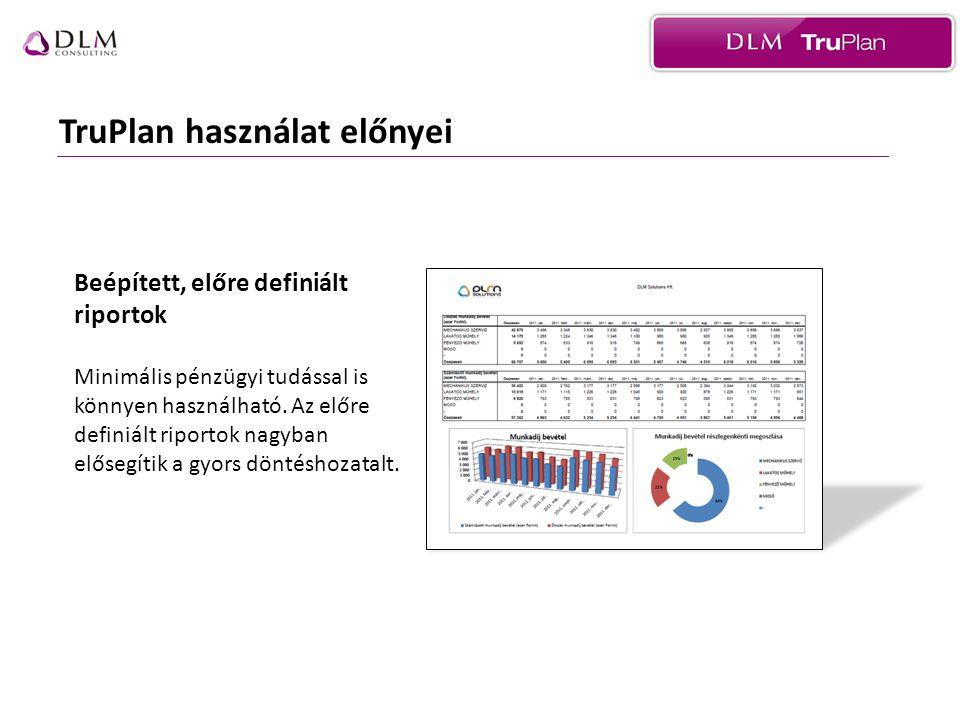 TruPlan használat előnyei Beépített, előre definiált riportok Minimális pénzügyi tudással is könnyen használható.