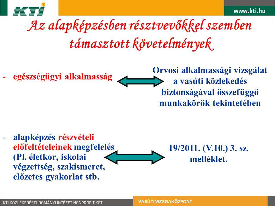 Az alapképzésben résztvevőkkel szemben támasztott követelmények -egészségügyi alkalmasság -alapképzés részvételi előfeltételeinek megfelelés (Pl.