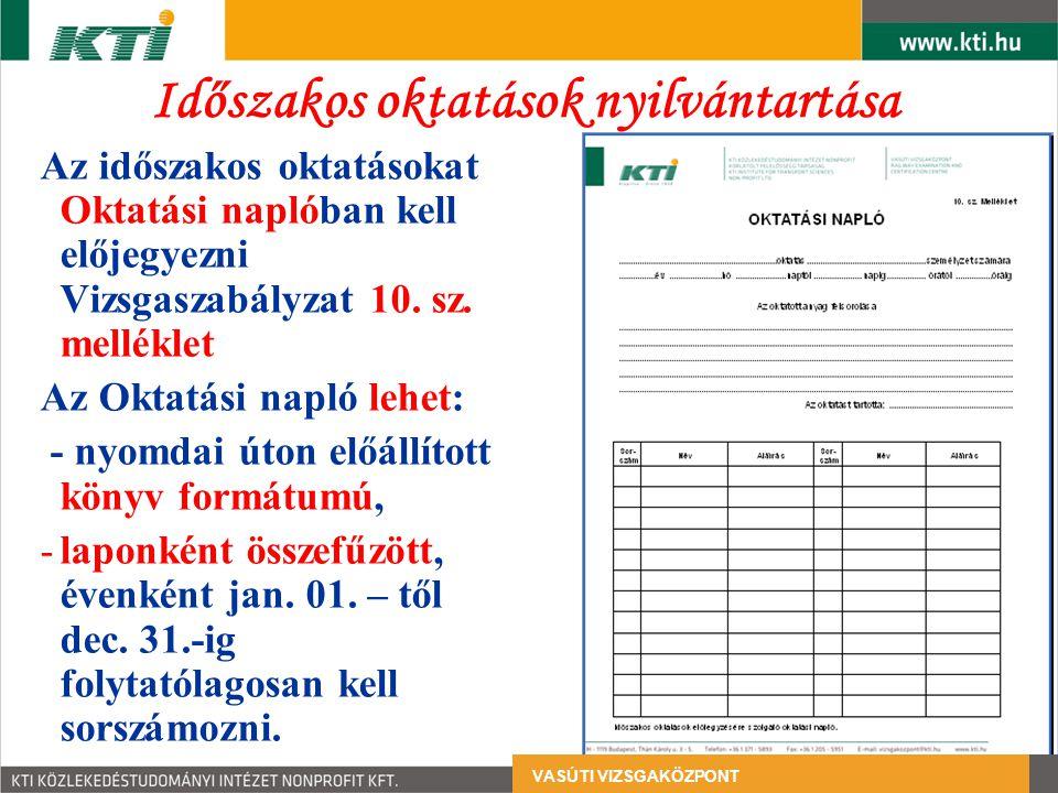 Időszakos oktatások nyilvántartása Az időszakos oktatásokat Oktatási naplóban kell előjegyezni Vizsgaszabályzat 10.