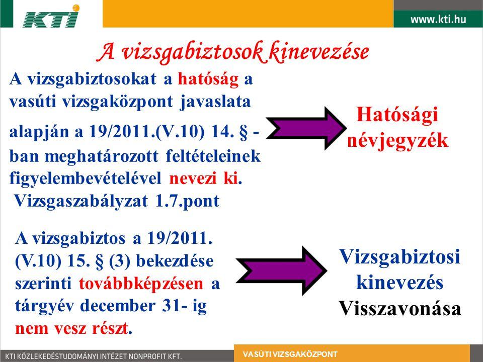 A vizsgabiztosokat a hatóság a vasúti vizsgaközpont javaslata alapján a 19/2011.(V.10) 14.