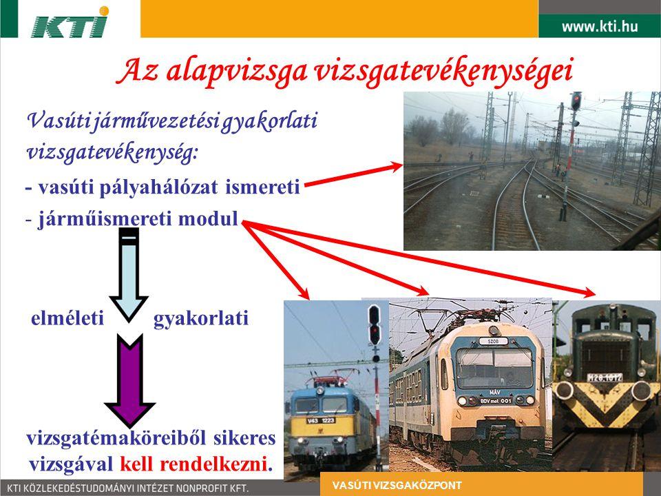 Az alapvizsga vizsgatevékenységei Vasúti járművezetési gyakorlati vizsgatevékenység: - vasúti pályahálózat ismereti - járműismereti modul elméleti gyakorlati vizsgatémaköreiből sikeres vizsgával kell rendelkezni.