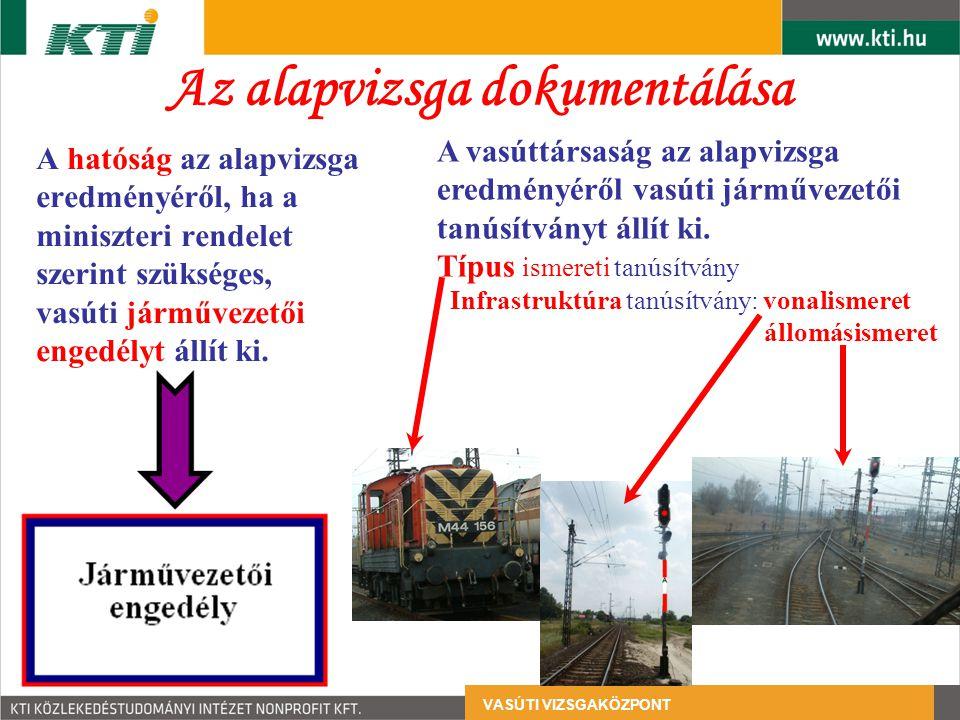 Az alapvizsga dokumentálása A hatóság az alapvizsga eredményéről, ha a miniszteri rendelet szerint szükséges, vasúti járművezetői engedélyt állít ki.