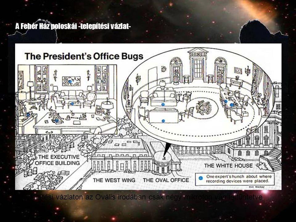 A Fehér Ház poloskái -telepítési vázlat- A telepítési vázlaton az Ovális irodában csak négy mikrofon van feltüntetve