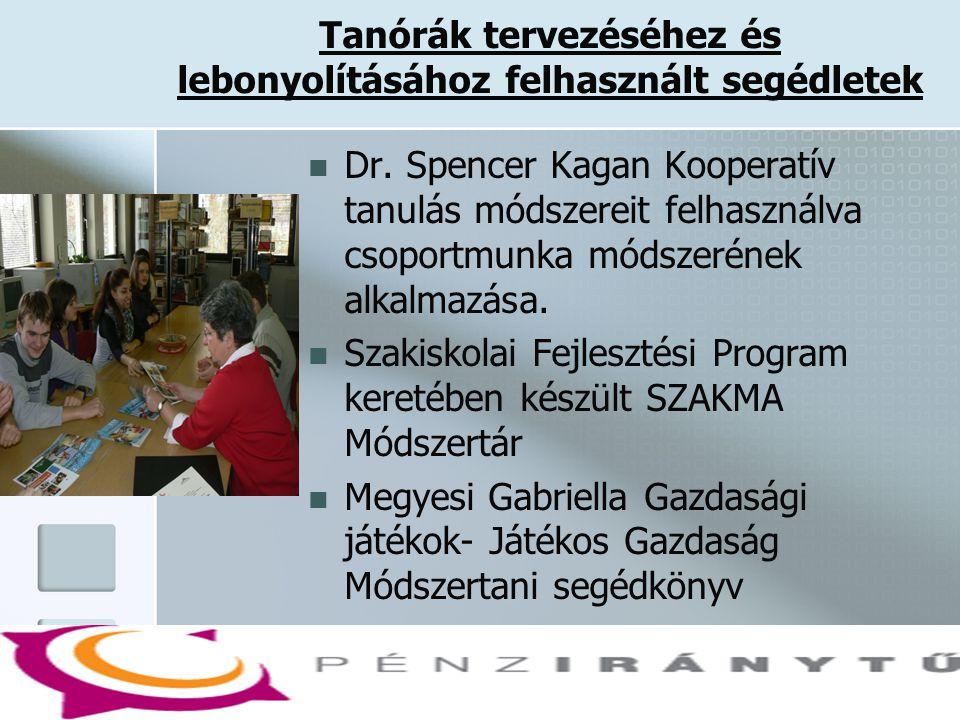 Tanórák tervezéséhez és lebonyolításához felhasznált segédletek  Dr. Spencer Kagan Kooperatív tanulás módszereit felhasználva csoportmunka módszeréne