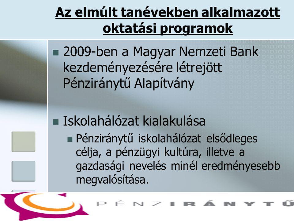Az elmúlt tanévekben alkalmazott oktatási programok  2009-ben a Magyar Nemzeti Bank kezdeményezésére létrejött Pénziránytű Alapítvány  Iskolahálózat kialakulása  Pénziránytű iskolahálózat elsődleges célja, a pénzügyi kultúra, illetve a gazdasági nevelés minél eredményesebb megvalósítása.