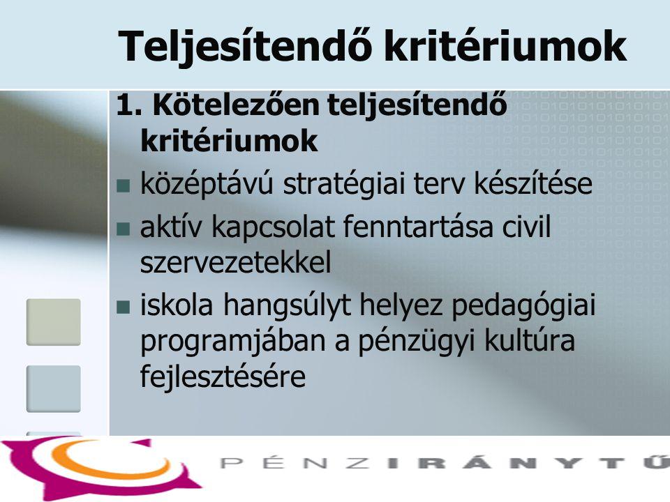 Teljesítendő kritériumok 1. Kötelezően teljesítendő kritériumok  középtávú stratégiai terv készítése  aktív kapcsolat fenntartása civil szervezetekk