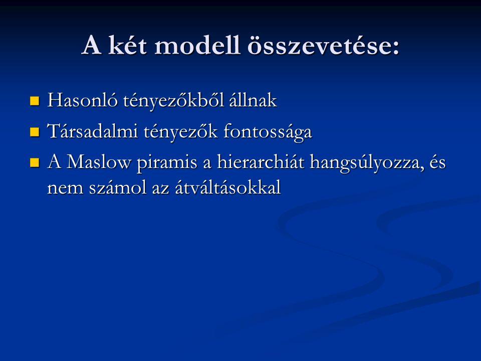 A két modell összevetése:  Hasonló tényezőkből állnak  Társadalmi tényezők fontossága  A Maslow piramis a hierarchiát hangsúlyozza, és nem számol az átváltásokkal