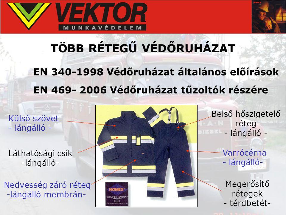TÖBB RÉTEGŰ VÉDŐRUHÁZAT EN 340-1998 Védőruházat általános előírások EN 469- 2006 Védőruházat tűzoltók részére Külső szövet - lángálló - Nedvesség záró