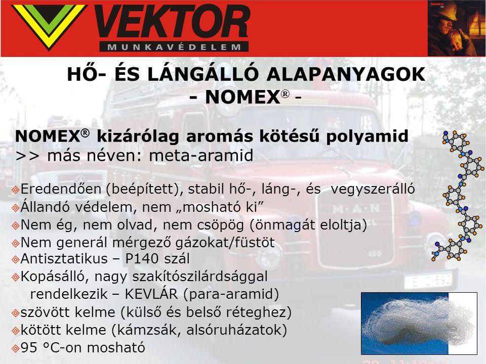 HŐ- ÉS LÁNGÁLLÓ ALAPANYAGOK - NOMEX ® - NOMEX ® kizárólag aromás kötésű polyamid >> más néven: meta-aramid  Eredendően (beépített), stabil hő-, láng-