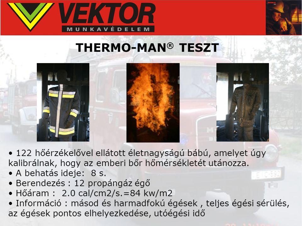 • 122 hőérzékelővel ellátott életnagyságú bábú, amelyet úgy kalibrálnak, hogy az emberi bőr hőmérsékletét utánozza. • A behatás ideje: 8 s. • Berendez