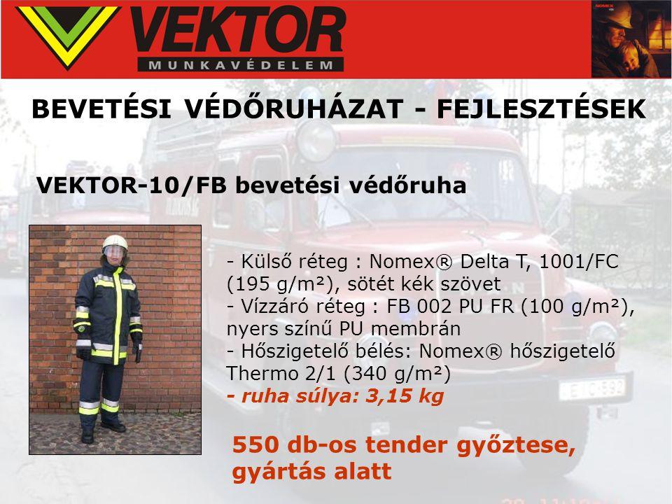 BEVETÉSI VÉDŐRUHÁZAT - FEJLESZTÉSEK VEKTOR-10/FB bevetési védőruha - Külső réteg : Nomex® Delta T, 1001/FC (195 g/m²), sötét kék szövet - Vízzáró réte
