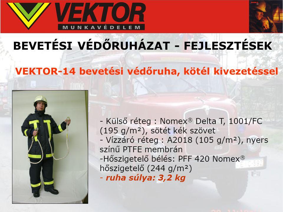 BEVETÉSI VÉDŐRUHÁZAT - FEJLESZTÉSEK VEKTOR-14 bevetési védőruha, kötél kivezetéssel - Külső réteg : Nomex ® Delta T, 1001/FC (195 g/m²), sötét kék szö