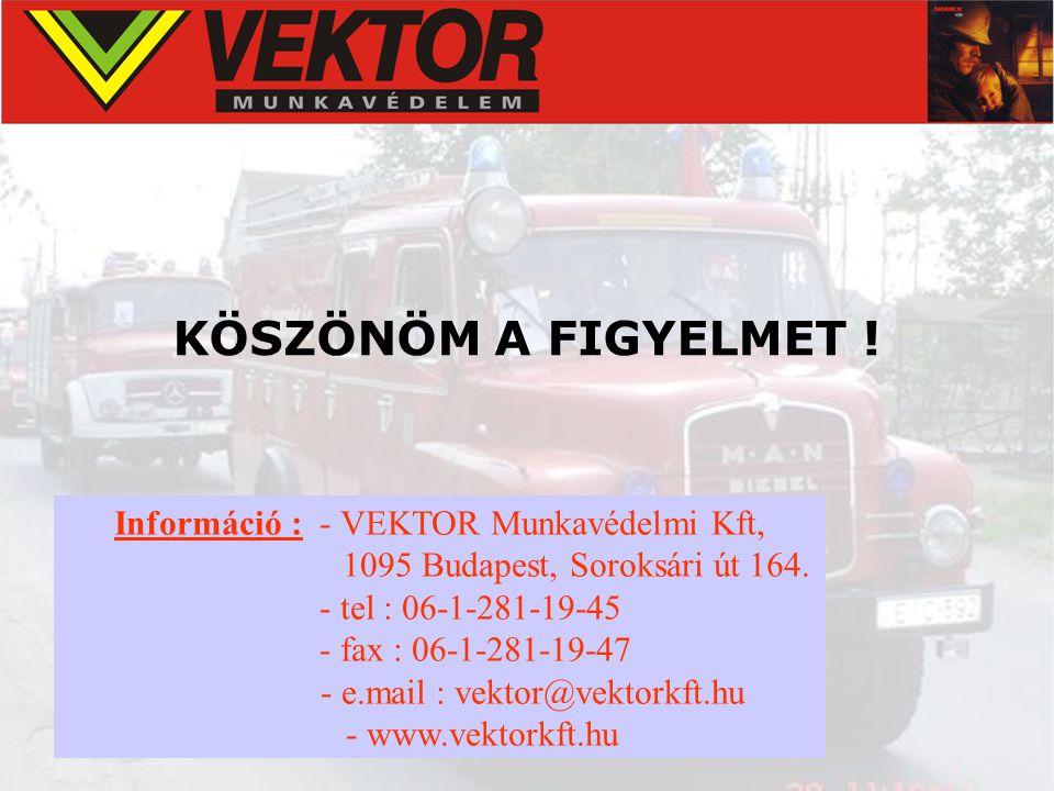KÖSZÖNÖM A FIGYELMET ! Információ : - VEKTOR Munkavédelmi Kft, 1095 Budapest, Soroksári út 164. - tel : 06-1-281-19-45 - fax : 06-1-281-19-47 - e.mail