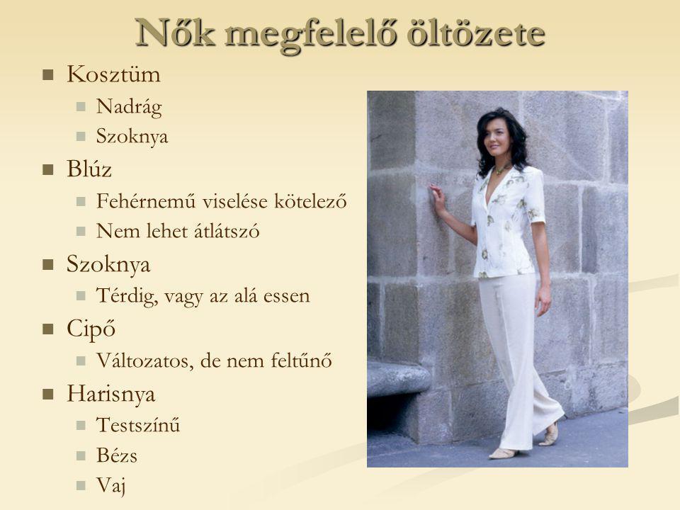 Nők megfelelő öltözete   Kosztüm   Nadrág   Szoknya   Blúz   Fehérnemű viselése kötelező   Nem lehet átlátszó   Szoknya   Térdig, vagy