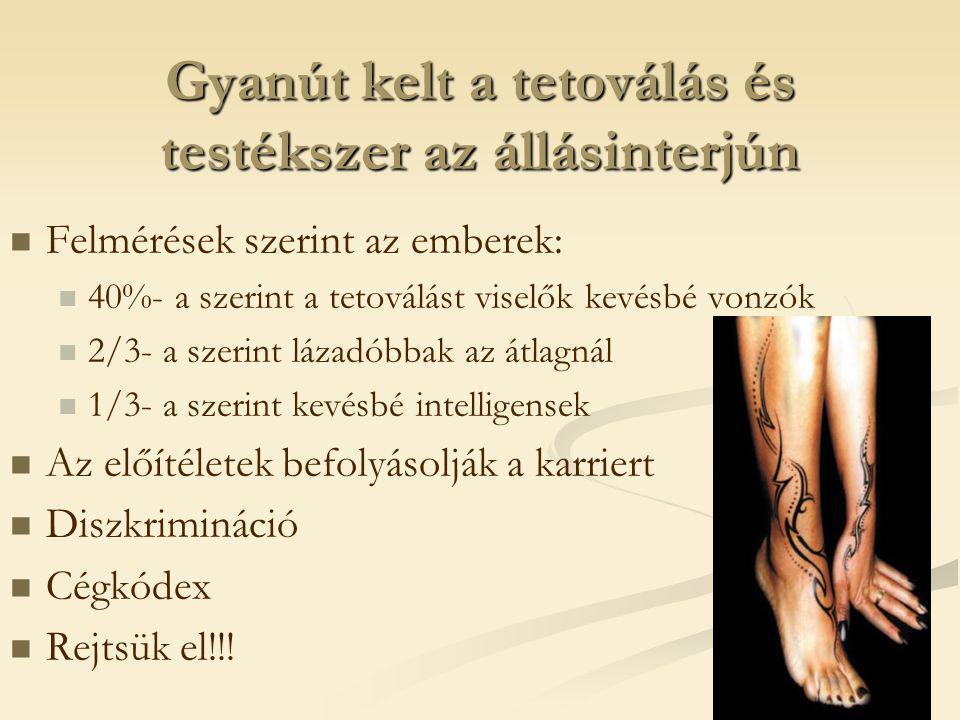Gyanút kelt a tetoválás és testékszer az állásinterjún   Felmérések szerint az emberek:   40%- a szerint a tetoválást viselők kevésbé vonzók   2