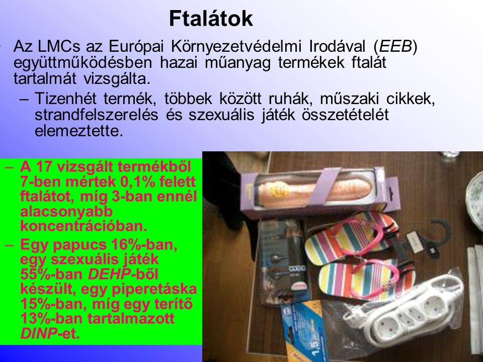A vizsgált anyagok:Ftalátok •Lágyítószerek, Pl.: gyermekruhák, kábelek, PVC-termékek tartalmaznak ilyen anyagokat •Több ftalát károsítja a szaporodási