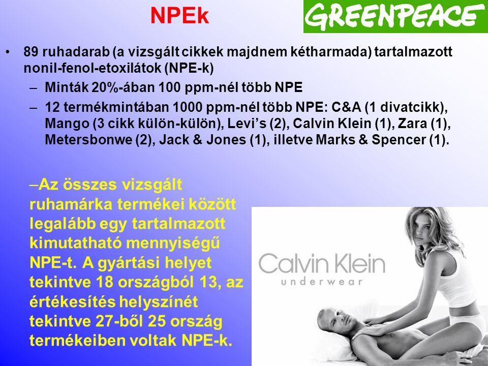 A Greenpeace International 2012-es kutatás •A 2012 kutatás számos különböző veszélyes vegyszert vizsgált a legkülönbözőbb divatcikkekben, és kiterjedt