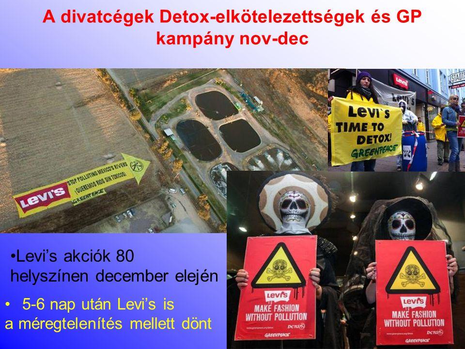A divatcégek Detox-elkötelezettségek és GP kampány nov-dec •Tanulmány nyilvánosságra hozatala után világszerte Zara demonstrációk •Kb 10 nap után Zara