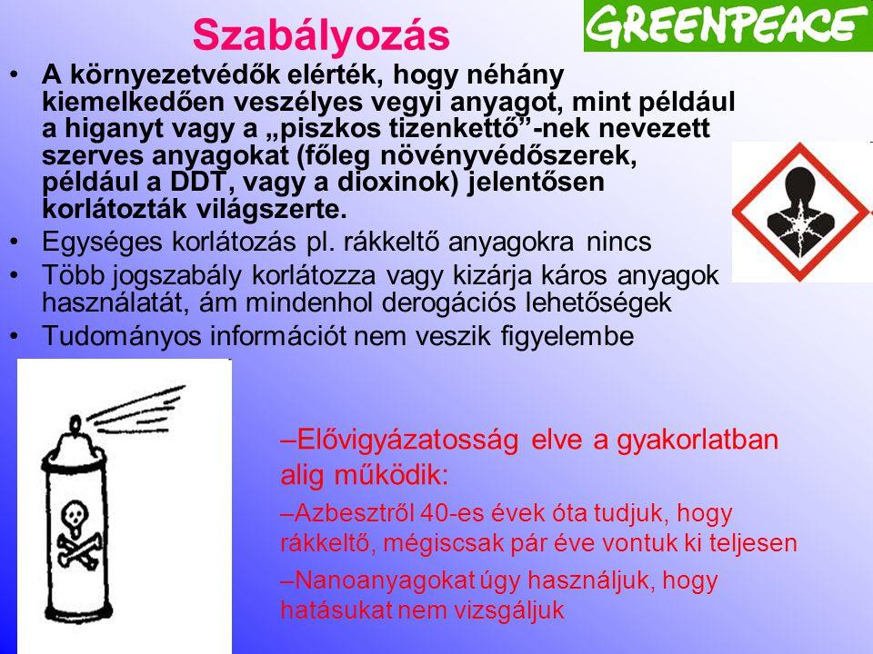 A Greenpeace International 2012-es kutatás •A 2012 kutatás számos különböző veszélyes vegyszert vizsgált a legkülönbözőbb divatcikkekben, és kiterjedt mind az árucikkek anyagában felhasznált, mind a gyártási folyamatból maradványként fennmaradt vegyszerekre.