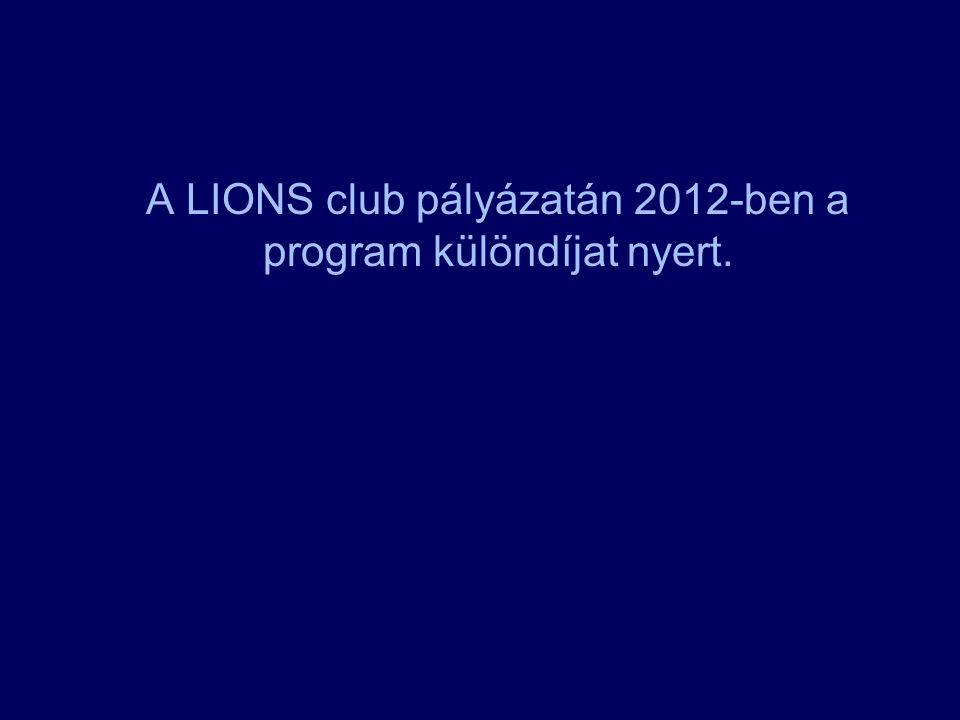 A LIONS club pályázatán 2012-ben a program különdíjat nyert.