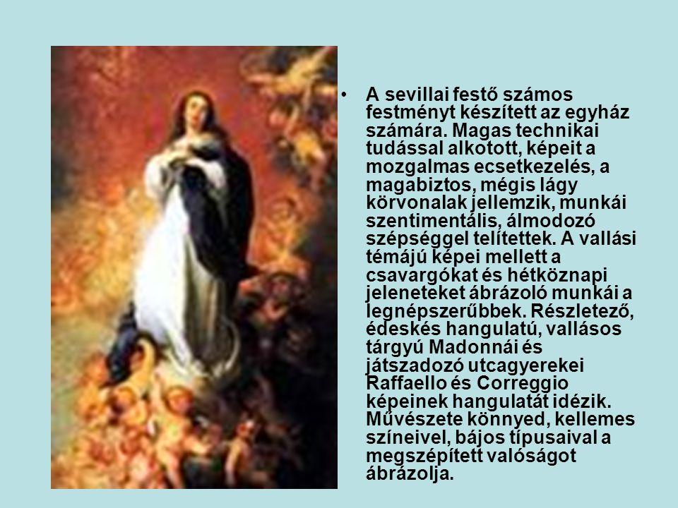 •A sevillai festő számos festményt készített az egyház számára.