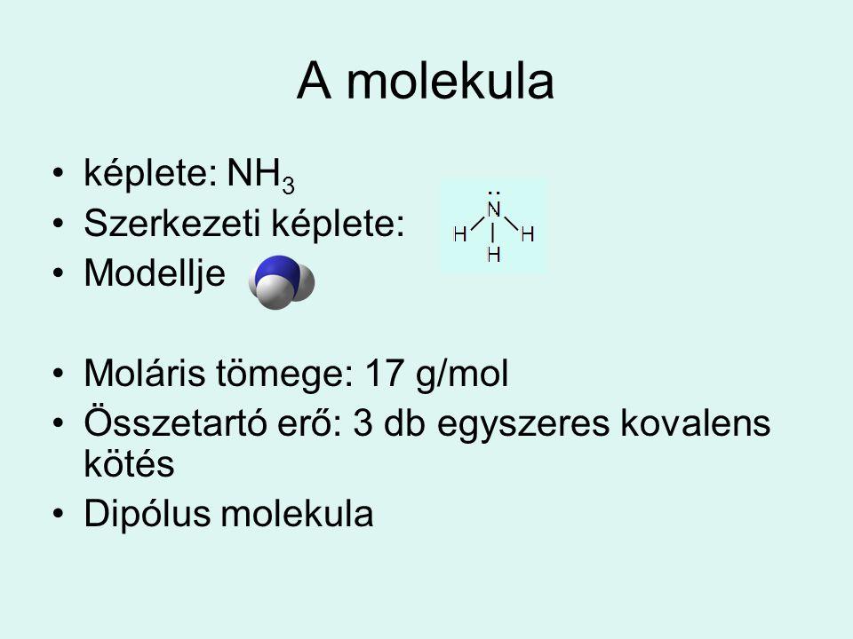 A molekula •képlete: NH 3 •Szerkezeti képlete: •Modellje •Moláris tömege: 17 g/mol •Összetartó erő: 3 db egyszeres kovalens kötés •Dipólus molekula