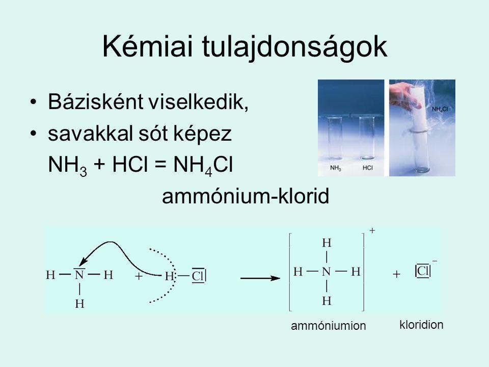 Kémiai tulajdonságok •Bázisként viselkedik, •savakkal sót képez NH 3 + HCl = NH 4 Cl ammónium-klorid ammóniumion kloridion