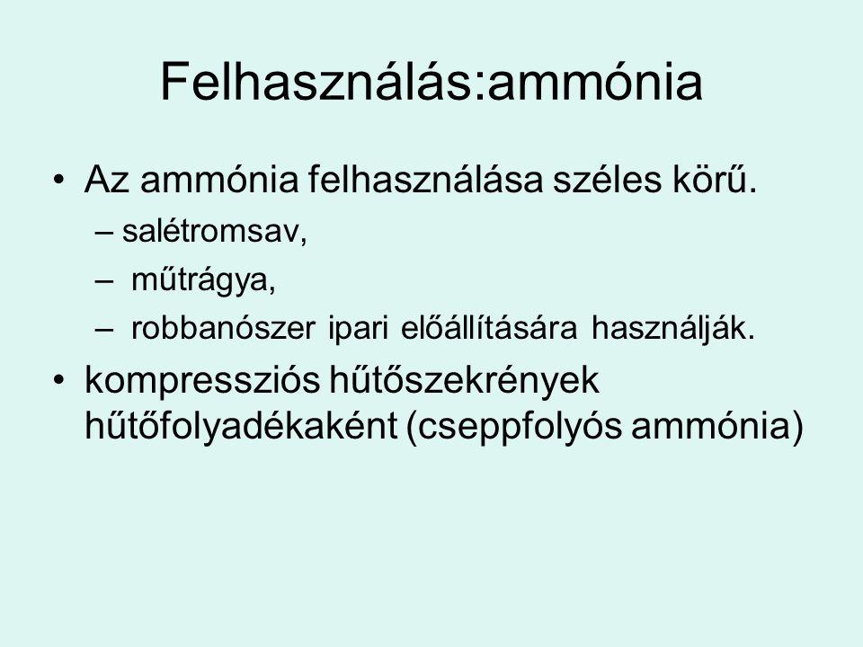 Felhasználás:ammónia •Az ammónia felhasználása széles körű. –salétromsav, – műtrágya, – robbanószer ipari előállítására használják. •kompressziós hűtő
