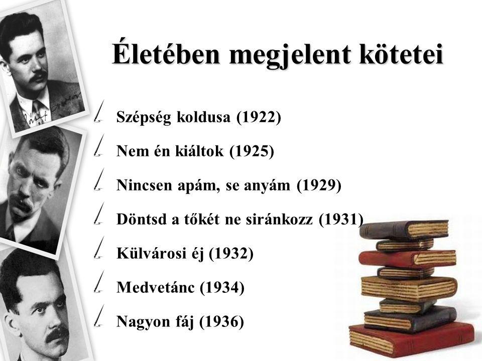 Életében megjelent kötetei Szépség koldusa (1922) Nem én kiáltok (1925) Nincsen apám, se anyám (1929) Döntsd a tőkét ne siránkozz (1931) Külvárosi éj