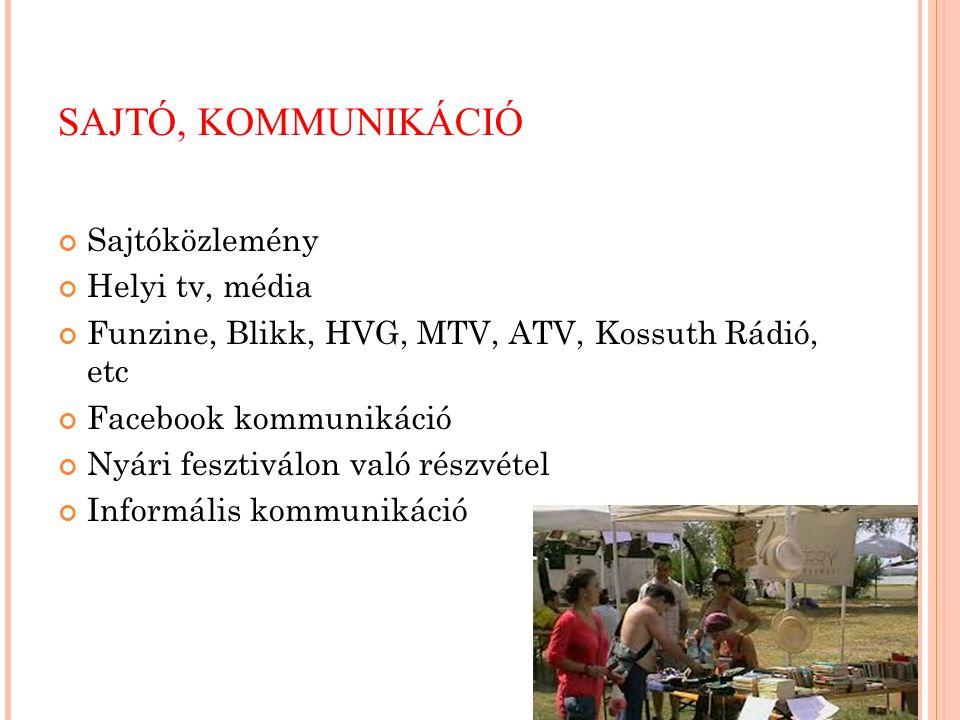 SAJTÓ, KOMMUNIKÁCIÓ Sajtóközlemény Helyi tv, média Funzine, Blikk, HVG, MTV, ATV, Kossuth Rádió, etc Facebook kommunikáció Nyári fesztiválon való rész