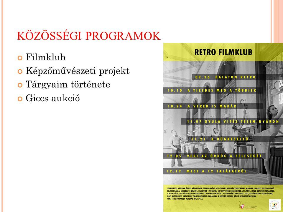 KÖZÖSSÉGI PROGRAMOK Filmklub Képzőművészeti projekt Tárgyaim története Giccs aukció