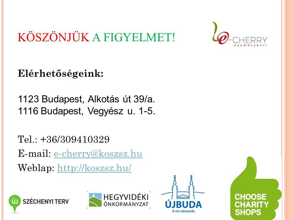 KÖSZÖNJÜK A FIGYELMET! Elérhetőségeink: 1123 Budapest, Alkotás út 39/a. 1116 Budapest, Vegyész u. 1-5. Tel.: +36/309410329 E-mail: e-cherry@koszsz.hue