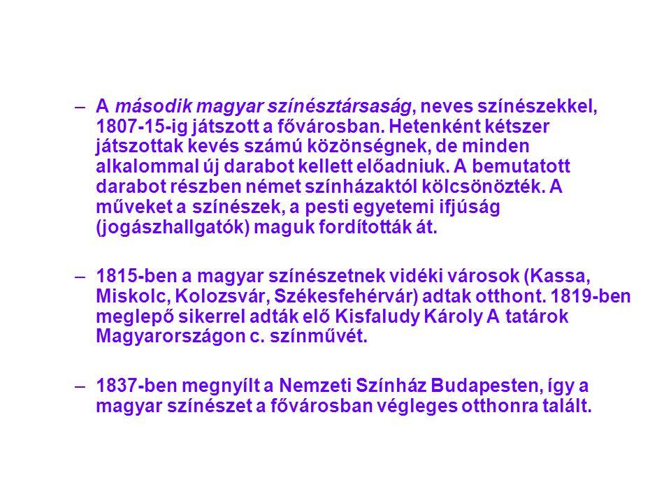 –A–A második magyar színésztársaság, neves színészekkel, 1807-15-ig játszott a fővárosban. Hetenként kétszer játszottak kevés számú közönségnek, de mi