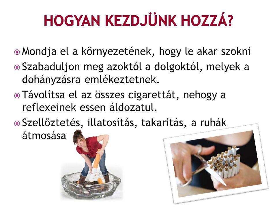  Mondja el a környezetének, hogy le akar szokni  Szabaduljon meg azoktól a dolgoktól, melyek a dohányzásra emlékeztetnek.  Távolítsa el az összes c