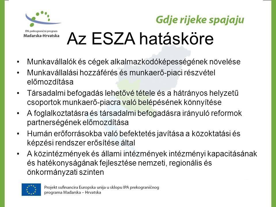 Az ESZA hatásköre •Munkavállalók és cégek alkalmazkodóképességének növelése •Munkavállalási hozzáférés és munkaerő-piaci részvétel előmozdítása •Társa