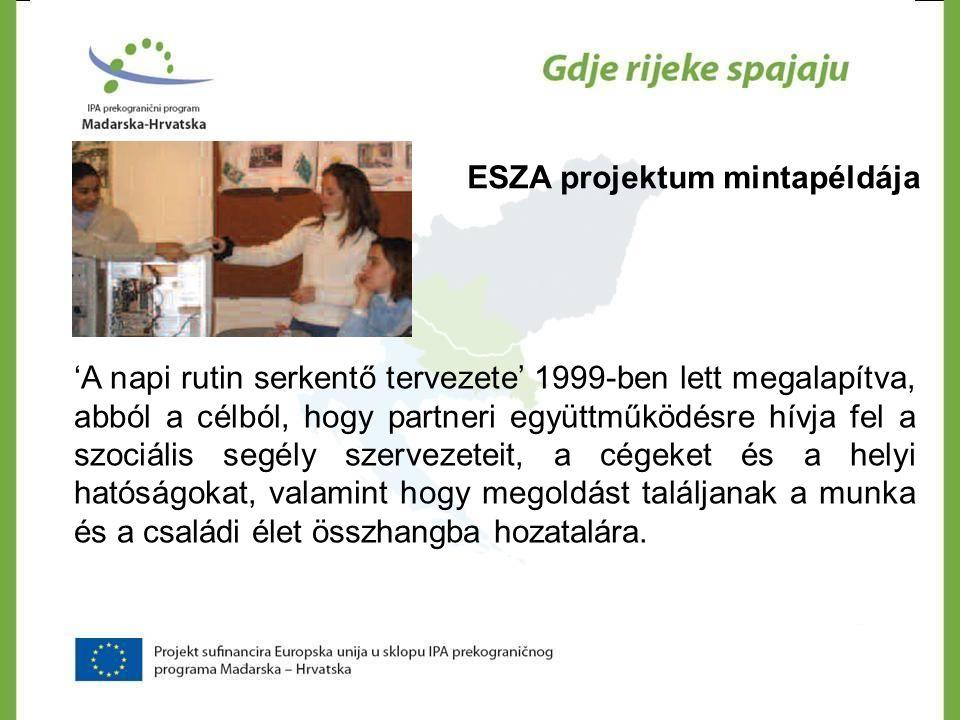 ESZA projektum mintapéldája 'A napi rutin serkentő tervezete' 1999-ben lett megalapítva, abból a célból, hogy partneri együttműködésre hívja fel a szo