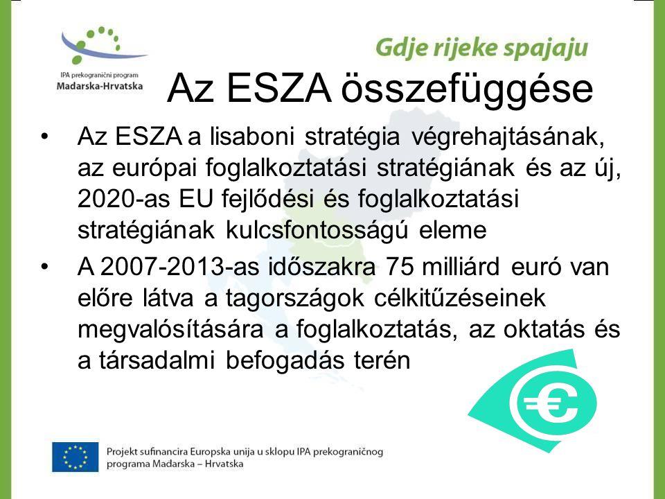 Az ESZA összefüggése •Az ESZA a lisaboni stratégia végrehajtásának, az európai foglalkoztatási stratégiának és az új, 2020-as EU fejlődési és foglalko